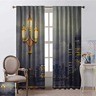 youpinnong Night, Curtains Energy Efficient, Westminster Bridge London City UK Stormy Moody Weather European Urban Travel, Curtains Nursery, W108 x L108 Inch, Pale Grey Yellow