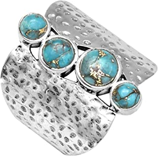 YoTreasure Blue Turquoise Solid 925 Sterling Silver Rings