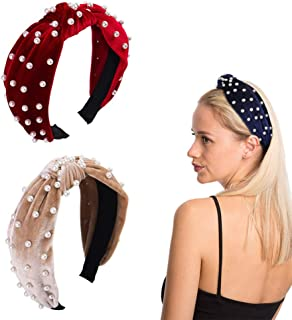 Soplus 2 Pack Vintage Twisted Pearl Velvet Headbands Hair Hoop with Cloth Wrapped for Girls Women Hair Accessories, (Red and Brown Color)