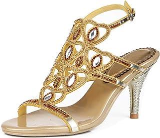 YooPrettyz Dazzling Strappy Evening Sandals Ankle Strap Wedding Dress Sandal Mid Heel