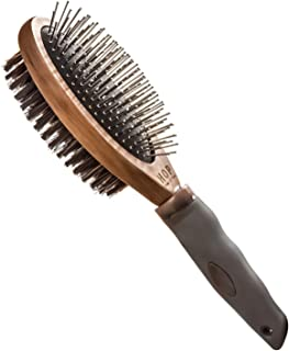 HOP Home of Paws Dog Brush for Grooming, Double Sided Pin&Bristle Brush Deshedding Tool, Dog Brush for Long Hair & Short Hair, Cat Brushe Grooming Comb for Detangling and Dirt Cleaning, Lotus Wood