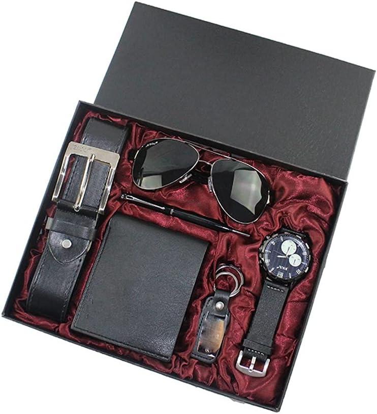 JJZXD 6 unids/Set Juego de Regalo para Hombre Reloj bellamente empaquetado Gafas cinturón de Cuero Cuentas Pulsera bolígrafo Corbata Traje Regalos para Hombres