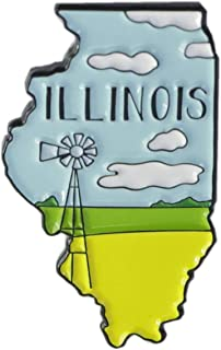 WizardPins Illinois Prairie Edition State Shape of Illinois Enamel Lapel Pin