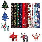 WELLXUNK 10 Pack Baumwollstoff Weihnachten Stoffpakete