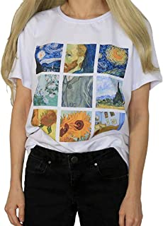 36b7f6077cf5a1 Eidemtel Maglietta da Donna, Elegante Canottiera Van Gogh Oil Painting  Girasole Notte Stellata Autoritratto
