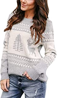 URIBAKE️ Women's Knitted Pullover Cozy Christmas Tree&Reindeer O-Neck Sweater Jumper Tops