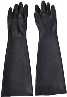 [UREGISH] ゴム手袋 ロング グローブ セイフティー 厚手 作業用 メッキ加工 サンドブラスト 薬剤使用 清掃 農林水産 土木 (60cm)