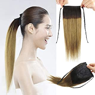 Remeehi Hair Extensions One Piece Tie Up Ponytail Clip in Hair Extensions for Girl Lady Women Dark Color