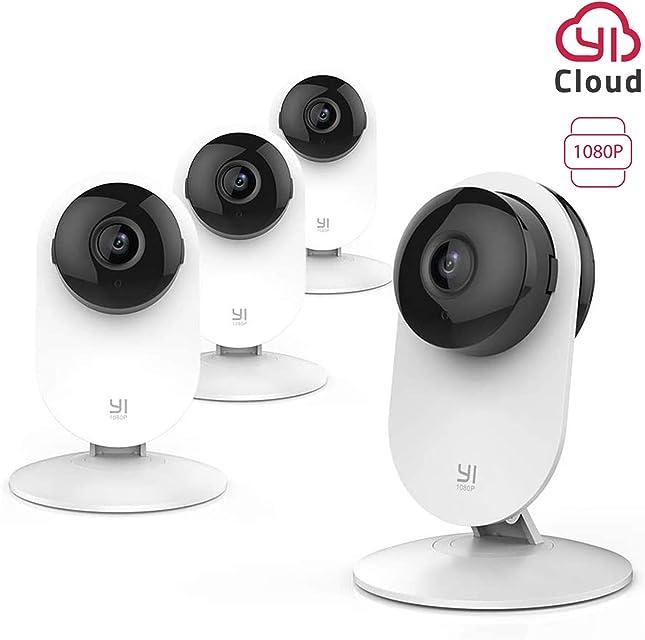 YI Cámara de Vigilancia Interior 1080P Domo Cámara IP Seguridad WiFi Mascota HD Inalámbrica con Visión Nocturna Detección Movimiento - 4 Unidades
