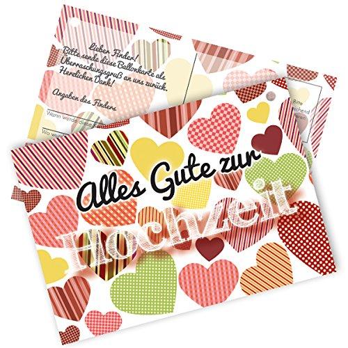 50 Stück Ballonflugkarten / Weitflugkarten zur Hochzeit, extra leicht ca. 1 g mit schönem Herz-Motiv für einen weiten Flug, Postkarten-Format DIN A6, für Luftballons, Herzluftballons, Latexballons in Herzform, heliumgefüllte Ballons