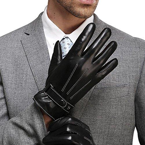 FLY HAWK warm gefütterte Handschuhe aus Echtem Leder Herren Lederhandschuhe für Touch Screen geeignet mit Druckknopfverschluss,Schwarz,L