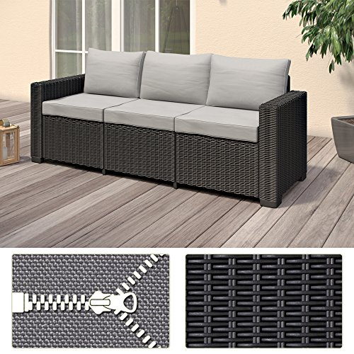 Allibert California 3-Sitzer Couch Polyrattan Gartenmöbel Lounge Rattanoptik - 3