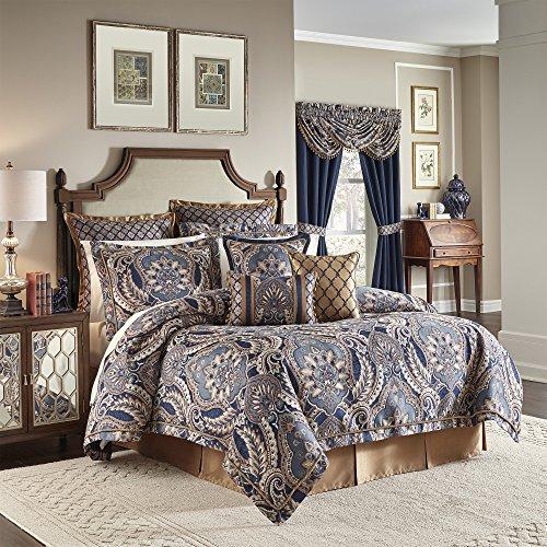 Croscill Aurelio 4 Piece Queen Comforter Set, Blue