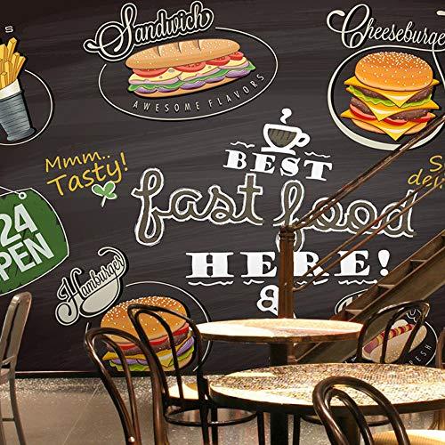 Fototapet 3D-väggmålning Hamburg pizza Fast Food tapet restaurang västerlig restaurang tebutik bakgrund efterrätt kök tapet väggbild, 430 x 300