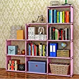 Jaketen Book Shelf Book Shelves 30 inch Bookcase Folding Book Shelves Bookshelf (Pink - 9 Cube)