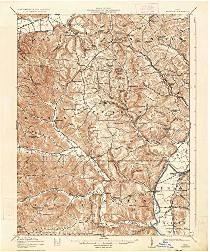 YellowMaps Piketon OH topo map, 1:62500 Scale, 15 X 15 Minute, Historical, 1917, Updated 1934, 19.9 x 16.6 in - Polypropylene