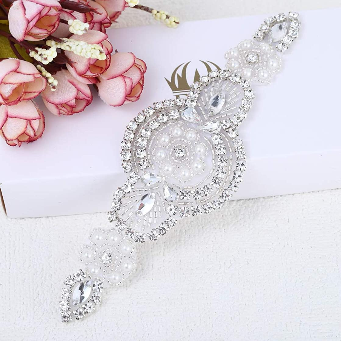 Iron on Sewing Small Rhinestone Applique Beaded Applique for Wedding Dress Accessories Bridal Sash Garter Headband Shoes Sparkly Decoration