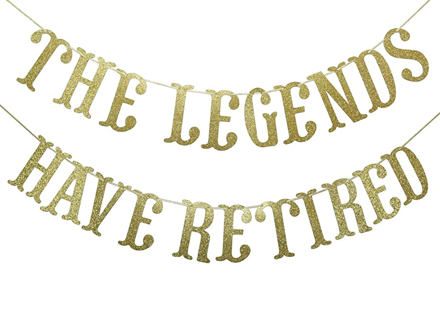 The Legends Have Retired Gold Glitter Banner for Retirement Party Decoration Supplies Cursive Bunting Photo Booth Props Sign (Gold)