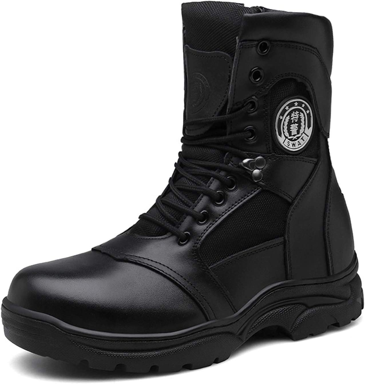Men's Outdoor Safety Work Boots, Non-Slip Anti-Piercing Steel-Toed Shoes, Wear-Resistant Combat Boots Hiking Boots, Durable Army Patrol Boots Police Boots