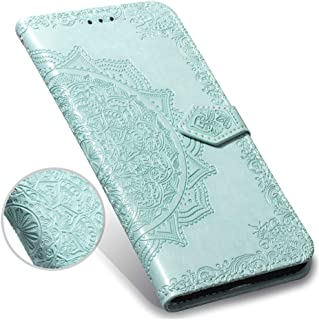 OnePlus 6T Case,OnePlus 6T Wallet Case,Luxury Henna Mandala Floral Flower PU Leather Flip Folio Phone Protective Case Cover with Credit Card Slot Holder Kickstand for OnePlus 6T /1+6T 6.41