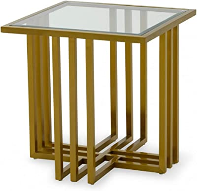 Limari Home Lorand Collection Glam Style Clear Glass Square End Table with Brushed Stainless Steel Cross Leg Frame Base, Gold