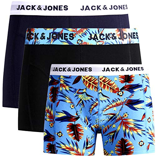 JACK & JONES Boxershorts 3er Pack Herren Trunks Shorts Baumwoll Mix Unterhose Core S M L XL XXL (M, 2)