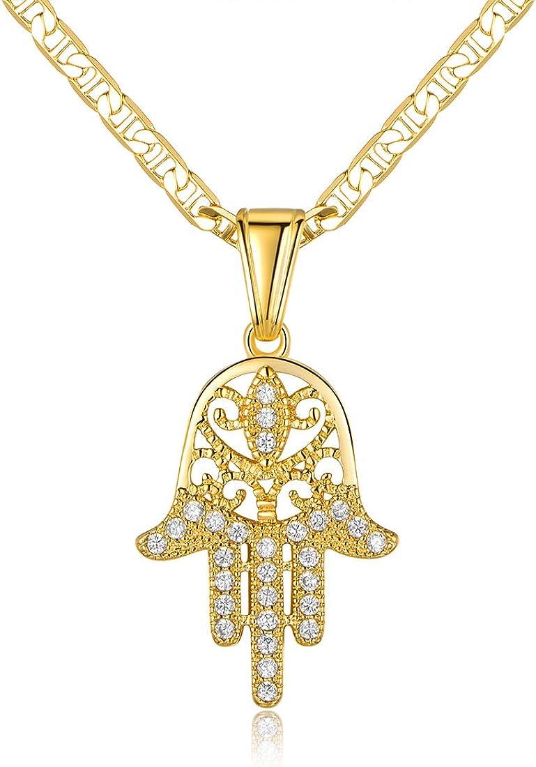 Barzel 18K Gold Plated Flat Mariner/Marina 060 3MM Chain Necklace With Hamsa Hand Pendant