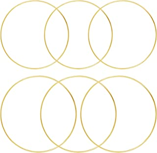 6 Pieces Large DIY Wreath Gold Metal Rings for Wedding, Thanksgiving, Christmas Wreath, Baby Mobile, Home Decor, Macrame Supplies and Crafts (3 MM x 20 Inches, 3 MM x 16 Inches)