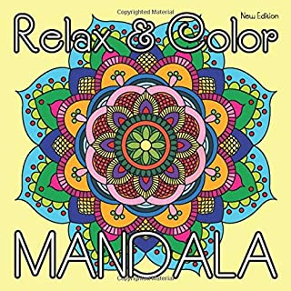 Relax & Color MANDALA (New Edition): 40 Hand Drawn Coloring Mandalas for Adults Relaxation on Square Format (8.5 x 8.5 inch) (Mandala Coloring Book)