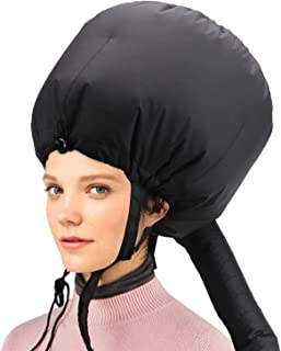 Bonnet Hooded Hair Dryer Attachment, Larger Adjustable Deep Conditioning Cap for Fast Hair Drying with Elastic Band for Fixing Free of Flying off Hair Curling Nursing Oil Treatment SPA Steamer Cap