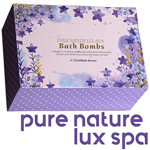 LuxSpa Bath Bombs Gift Set - The Best Ultra Natural Bubble Fizzies with Dead Sea Salt Cocoa and Shea Essential Oi   ls, 6 x 4.1 oz, The Best Birthday Gift idea for Her/Him, Wife, Girlfriend, Women.