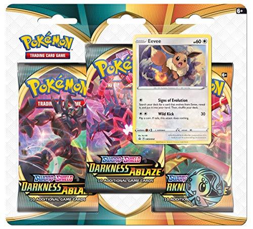 Pokèmon POK80716-D12 Pokémon TCG: Sword & Shield 3 Darkness Ablaze 3er-Pack Booster (zufällige Auswahl)