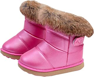 Hzjundasi Snow Boots Baby Kids Girls Autumn Winter Warm Shoes Cute Waterproof and Anti-Slip Boots Hiking Shoes