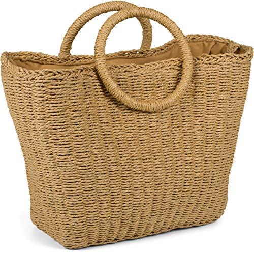 styleBREAKER Damen Korbtasche mit geflochtenem Umhängegurt, Kordelzug Verschluss, Bali Bag, Henkeltasche 02012370, Farbe:Braun