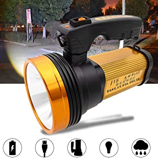 Paddsun Bright Rechargeable Searchlight Handheld LED Flashlight Portable Spotlight with Handle,IPX4 Waterproof,USB Power Bank Rechargeable Flashlights.
