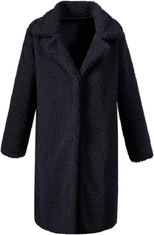 PujinggeCA Women Warm Fleece Blouse Open Front Jacket Coat Long Outerwear