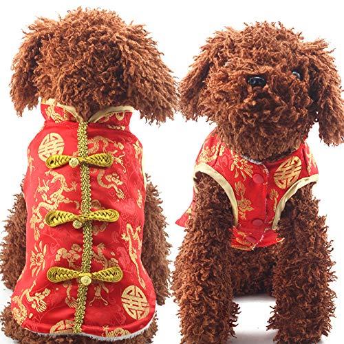 DishyKooker Dicker Haustier-Hunde-Kleidung Tang-Anzug für Winter Neujahr, Kostüm, Rot, Größe 38/S