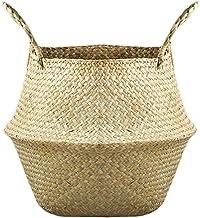 Peahop Doniczka na kwiaty, składany kosz na brzuch z trawy morskiej, do przechowywania, na pranie, piknik, torba plażowa, ...