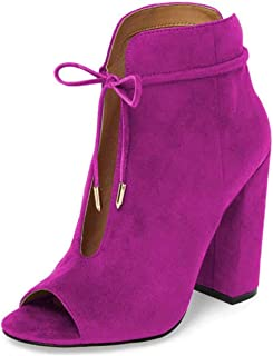 Women Chic Peep Toe Chunky High Heel Lace Up Bowknot Cutout Ankle Booties Boots