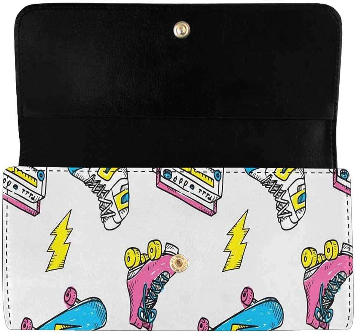 INTERESTPRINT Women's Trifold Long Clutch Purses Cartoon Cute Pattern Card Holder Handbags