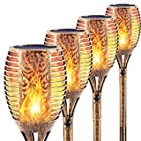 FAISHILAN 4-Pack Solar Torch Lights, 43 Inch Waterproof Flickering Flames, 2200mAh 96 LEDs Solar Flame Light, Auto On/Off Led Tiki Torches, Dusk to Dawn Dancing Flame Lights, Bronze