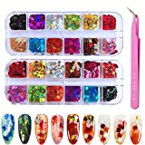 24 Boxes Colored Maple Leaf Holographic Nail Sequins, Kalolary Leaf Sequins Laser Nails Art Glitters, for Halloween/Thanksgiving/Christmas Nail DIY Manicure Decals Decoration