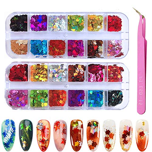 Kalolary 24 dozen Nagel pailletten met pincet, Nagel Maple Pailletten, Colorul Laser Pailletten Nagels, 3D Nagel Pailletten Kleur Gemengd, Holografische Nagel Folie, Dip Poeder Glitter