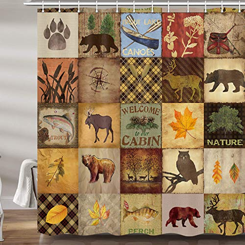 JAWO Rustic Bear Shower Curtains for Bathroom, Moose Lake Country Lodge Cabin Fabric RV Shower Curtain Set, Farmhouse Camp Woodland Bathroom Accessories Decor, Hooks Included (69W X 72H)