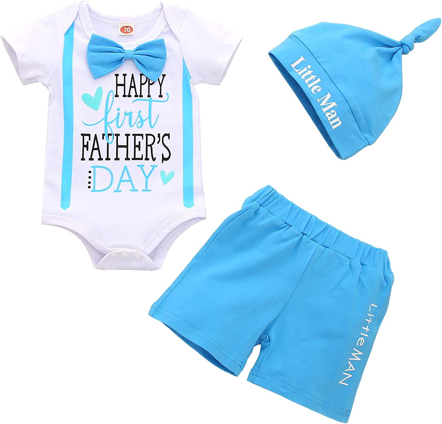 Recabee Baby Boy Father's Day Outfits Happy First Father's Day Gentleman Romper Top+Pant Baby Boy Father's Day Clothes