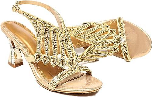 Sandales Strass Cristal Cristal Chaussures à Talons en Cuir Magnifiques Talons Confortable  livraison éclair