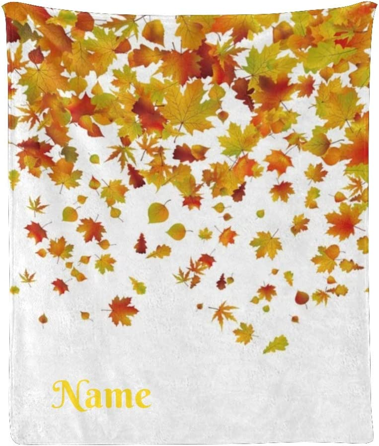 CUXWEOT Custom Blanket with Name 大幅値下げランキング Maple Autumn 返品交換不可 Text Personalized