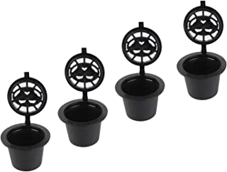 4pcs Reusable Refillable Coffee Capsule Filters Compatible with Nespresso Machine with Spoon Brush (Black)