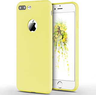Winhoo Back Cover Case for iPhone 7 Plus Silicon Soft TPU Slim Matte Flexible Shockproof Gel Rubber Ultra Thin Candy Back Cover Case - Yellow