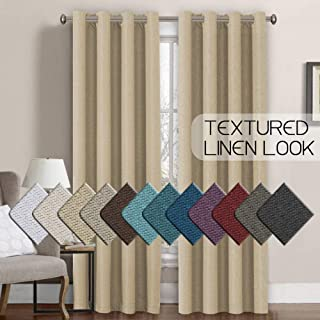 Linen Curtains 84 Thermal Insulated Energy Efficient Curtains Textured Linen Like Curtain Panels for Bedroom/Living Room Natural Feeling Grommet Window Treatment Drapes,52 by 84 Inch-Beige (1 Panel)